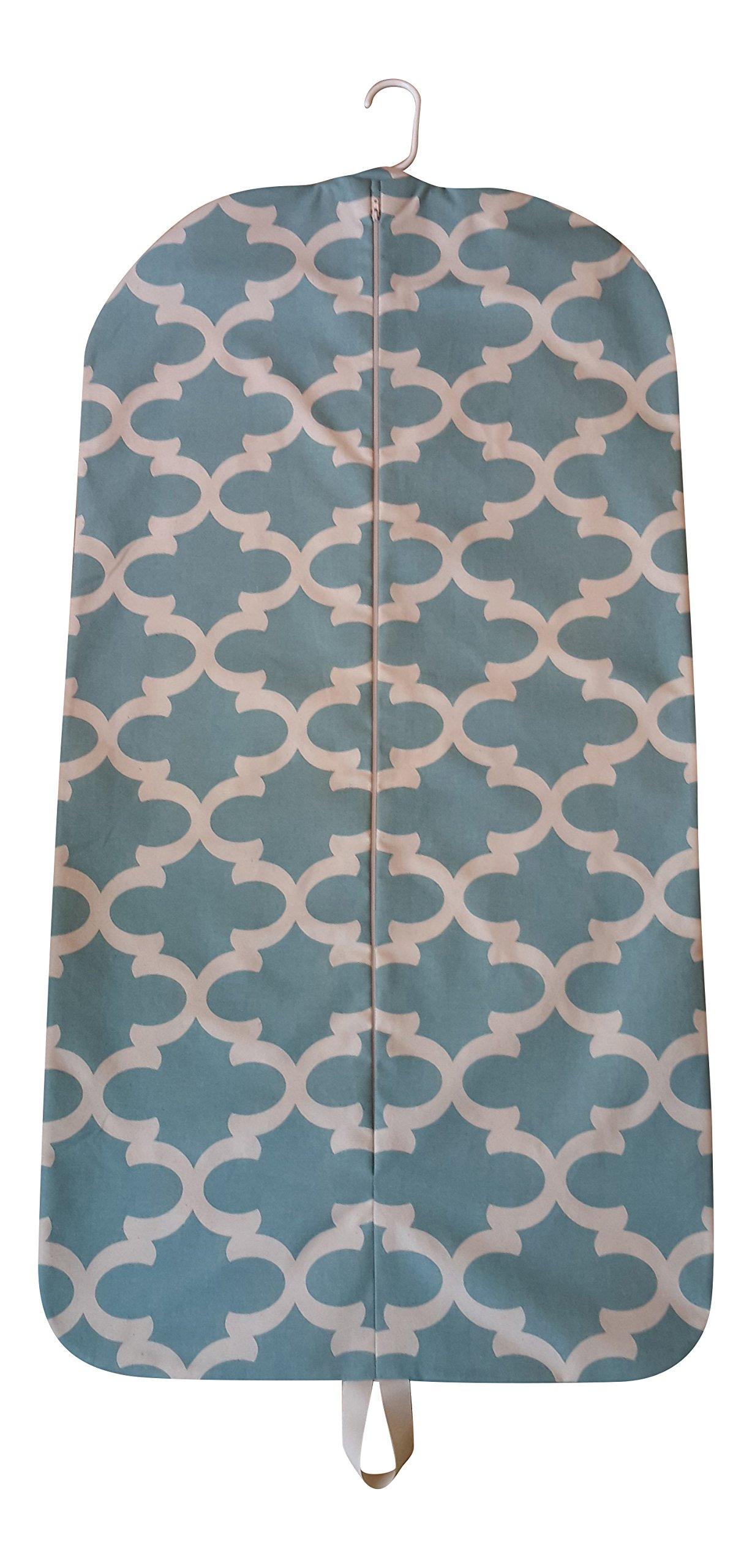 Carry It Well Women's Hanging Garment Bag Light Aqua and Cream Moroccan Gate