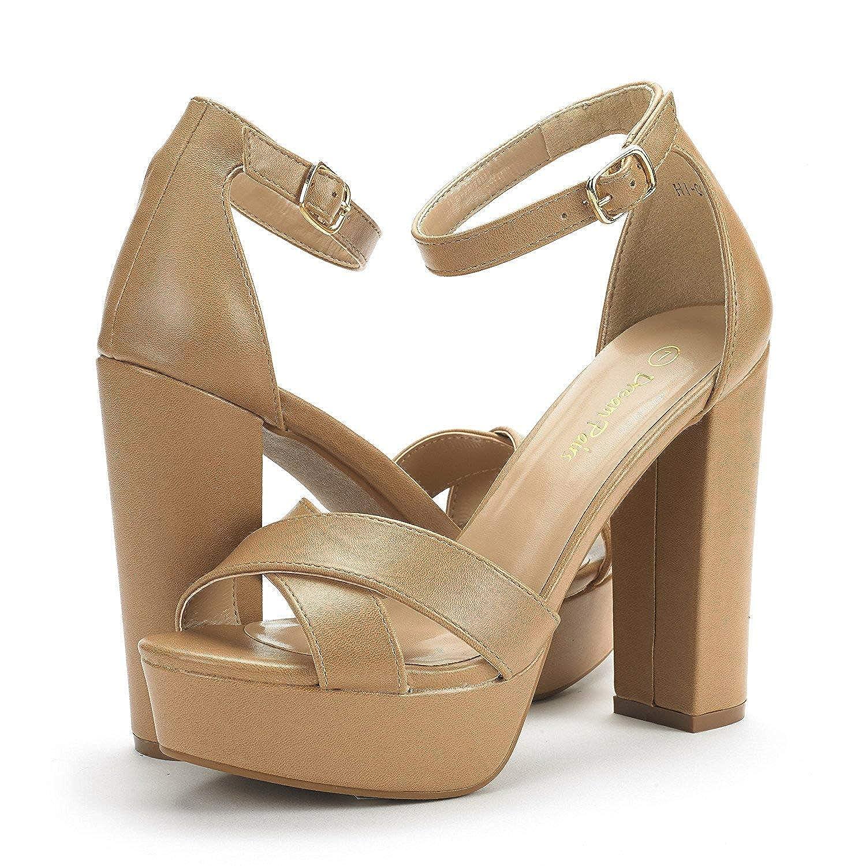 DREAM PAIRS Womens Hi-Lo High Heel Platform Pump Sandals