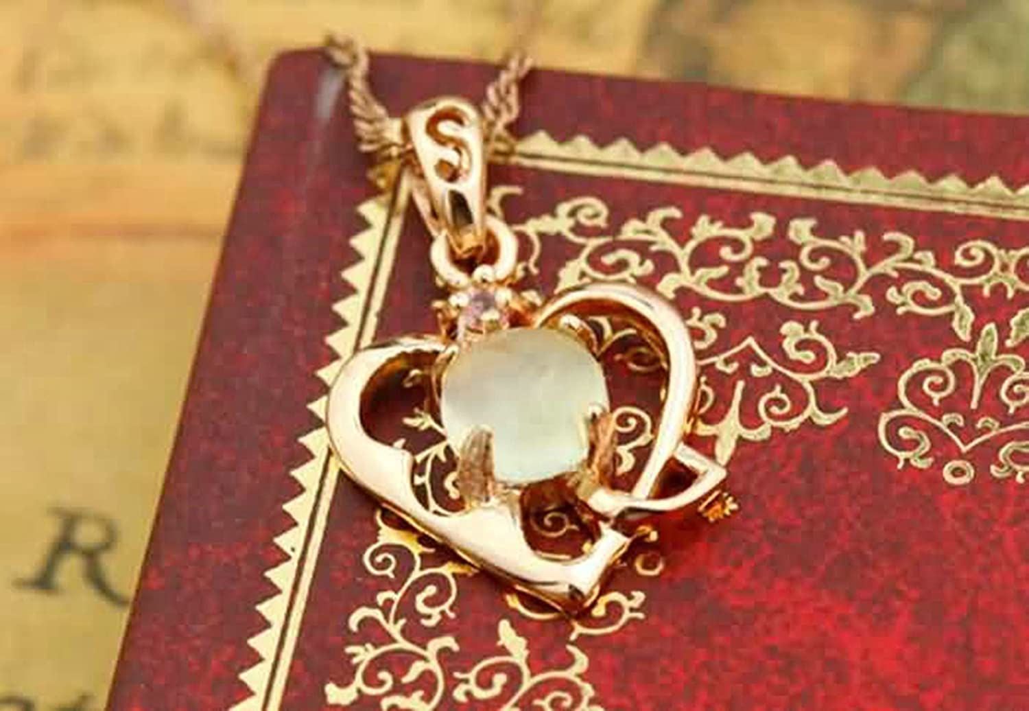 AMDXD Jewelry Women Silver Plated Pendant Necklaces Hollow Out Heart Round CZ Rose Gold 1.73X1.36CM