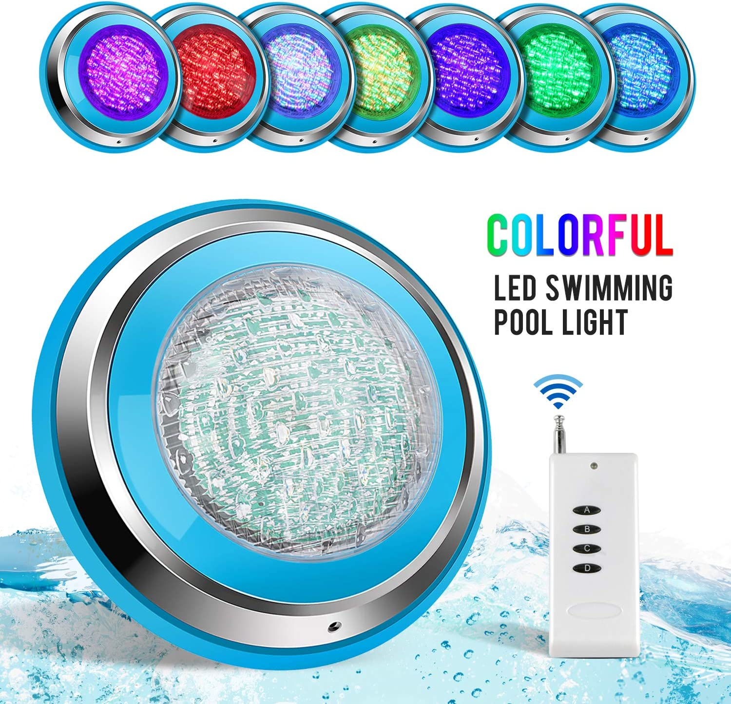 TOPLANET Led Piscina 48W RGB Luz de Piscina Iluminacion Led para Piscinas Impermeable IP68 Piscina Led Pool Light Control Remoto para Swimming Pool/Acuario Light Decoración Wall Mounted