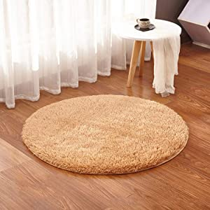 Soft Living Room Fluffy Round Rug Carpet for Faux Fur Kids Room Long Plush Rugs for Bedroom Shaggy Area Rug