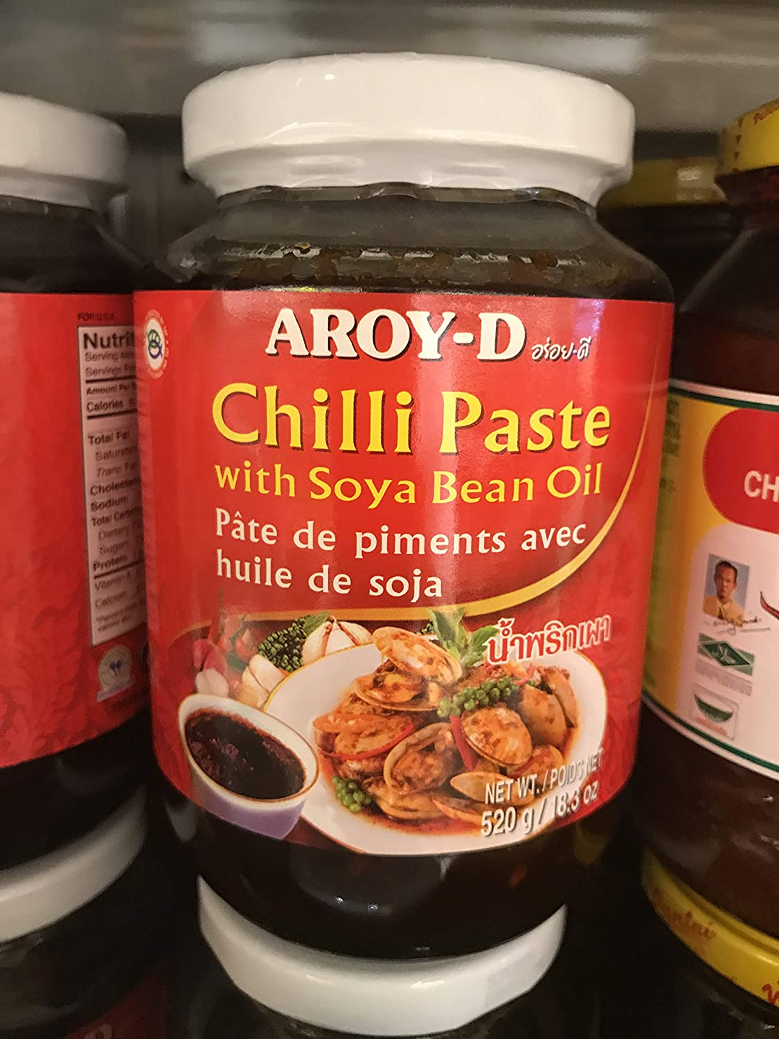Amazon com : Aroy-D Chilli Paste with Soya Bean Oil - 520g