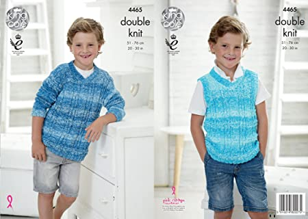 King Cole 4465 Knitting Pattern Boys Sweater And Tank Top To Knit In
