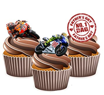 24 PERSONALISED MOTO GP BIKES EDIBLE RICE PAPER CUP CAKE TOPPERS