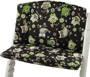 Babys-Dreams zitkussen pad zitkussenset voor stokken Tripp Trap hoge stoel (Brown Groen/Beige Uulen$14)