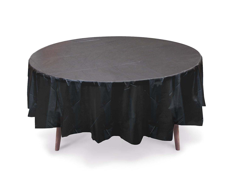 "5 PACK, 84"" Black Round Plastic Table Cover, Plastic Table Cloth Reusable (PEVA) (Black)"