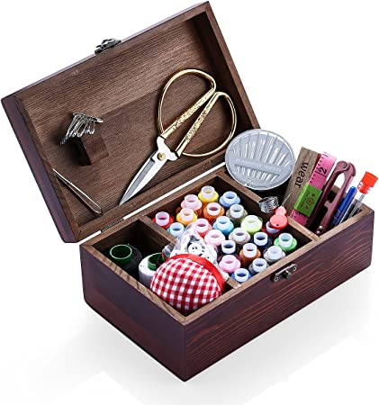 Wooden Sewing Basket with Accessories Sewing Box with Sewing Kit Accessories for Home Repair Tool Set for Beginners//Women//Men//Girls//Kids Sewing Kit