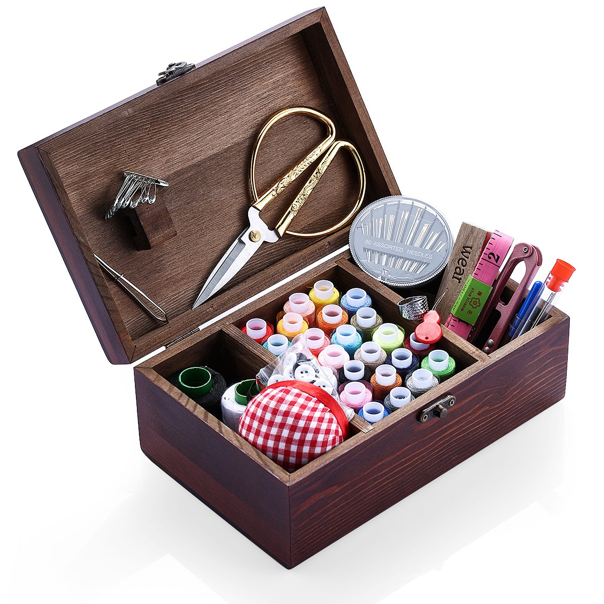 Wooden Sewing Kits Sewing Boxes and Baskets with Sewing Accessories Kit, Good for Adults/Kids/Girls Kungfuking 4336938003