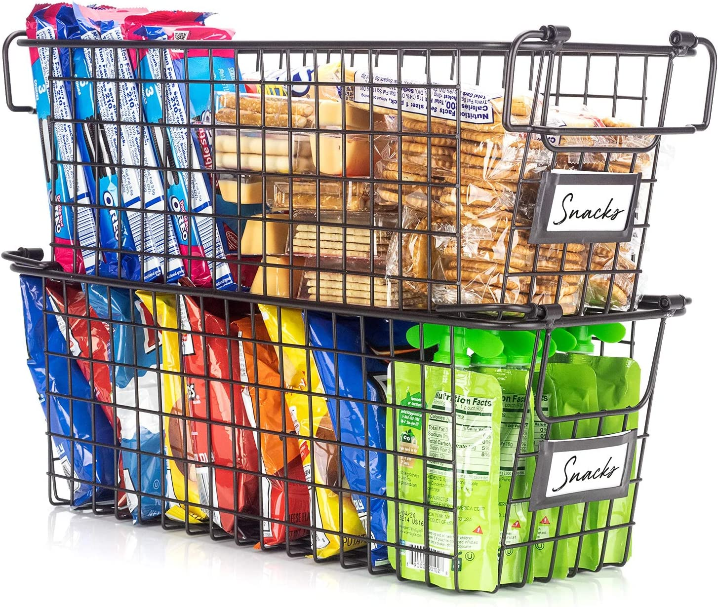 Gorgeous Stackable Wire Baskets For Pantry Storage and Organization - Set of 2 Pantry Storage Bins With Handles - Sturdy Metal Food Baskets Keep Your Pantry Organized