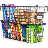 Gorgeous Stackable Wire Baskets For Pantry Storage and Organization - Set of 2 Pantry Storage Bins With Handles - Sturdy…