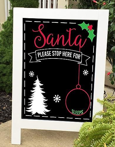 Christmas Chalkboard.Amazon Com Christmas Chalkboard Christmas Sign Santa