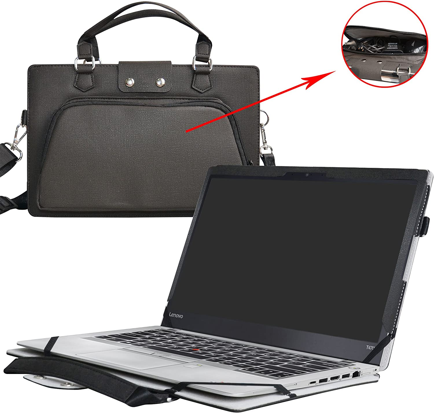 """ThinkPad T470s Case,2 in 1 Accurately Designed Protective PU Leather Cover + Portable Carrying Bag For 14"""" Lenovo ThinkPad T470s Series Laptop(Not fit ThinkPad T470/T470p/T460),Black"""