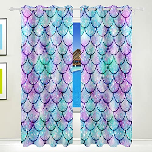 JERECY Colorful Watercolor Mermaid Scale Window Curtains Blackout Curtain