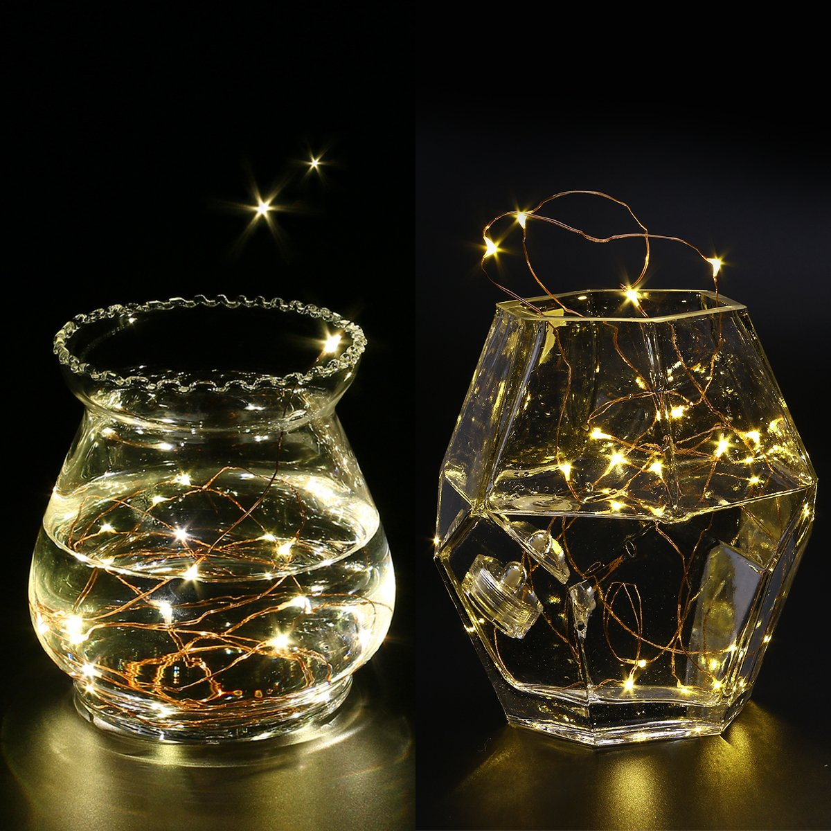 LED Starry String Lights, 8PCS 6.5foot Warm White Copper Fairy Lights with 20 Micro LEDs, Waterproof, Battery Operated, for Wedding Parties Table Decoration by YUNLIGHTS (Image #5)