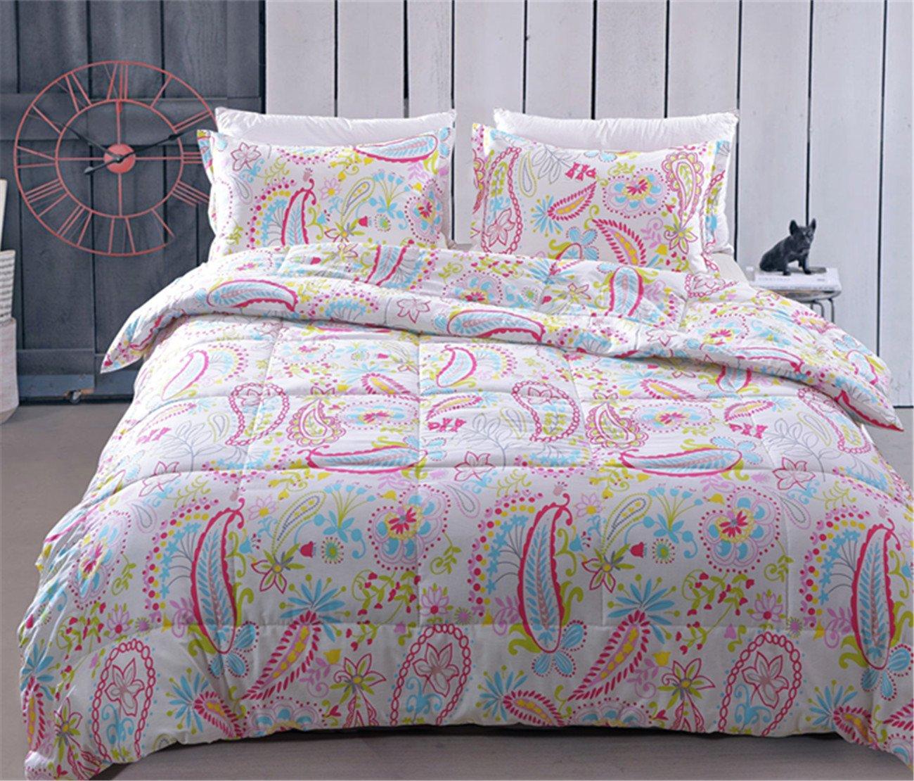 Juwenin Home Bedding Pink Girls Comforter Set with 2 Pillow sham 100% Cotton (CMF-BIANHUAKAI, Queen)