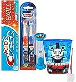 """Thomas The Train"" Inspired 5pc Bright Smile Oral Hygiene Set! Thomas & Friends 2pk Soft Manual Toothbrush, Toothpaste, Brushing Timer & Mouthwash Rinse Cup! Plus Bonus ""Remember To Brush"" Visual Aid!"
