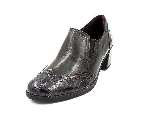 Zapato Mujer Copete PITILLOS - Piel Color Negro Combinado con Coco Charol Negro - 1245-581: Amazon.es: Zapatos y complementos
