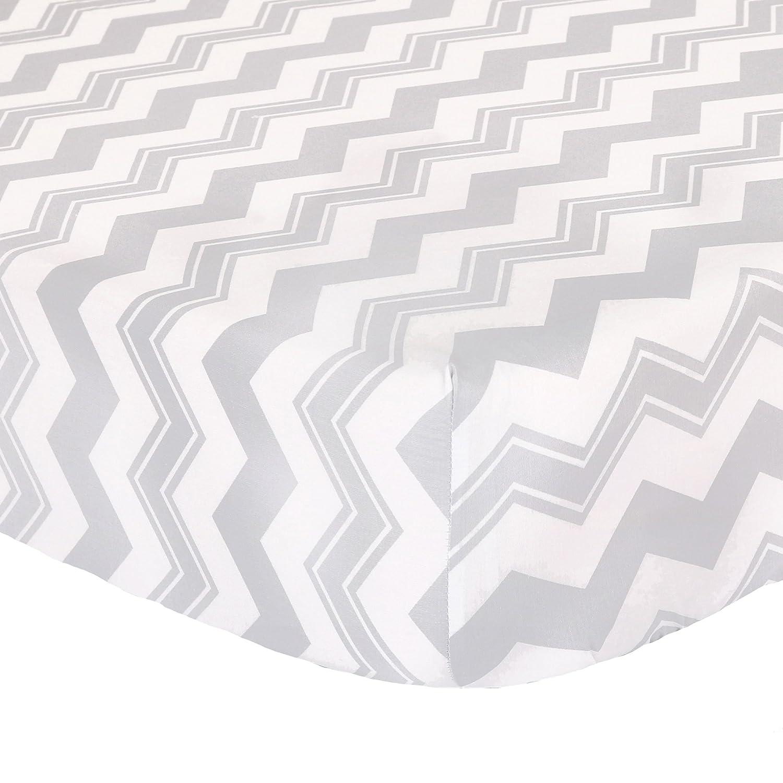 Grey Zig Zag Fitted Crib Sheet - 100% Cotton Sateen Chevron Design by The Peanut Shell   B01HNADZBK