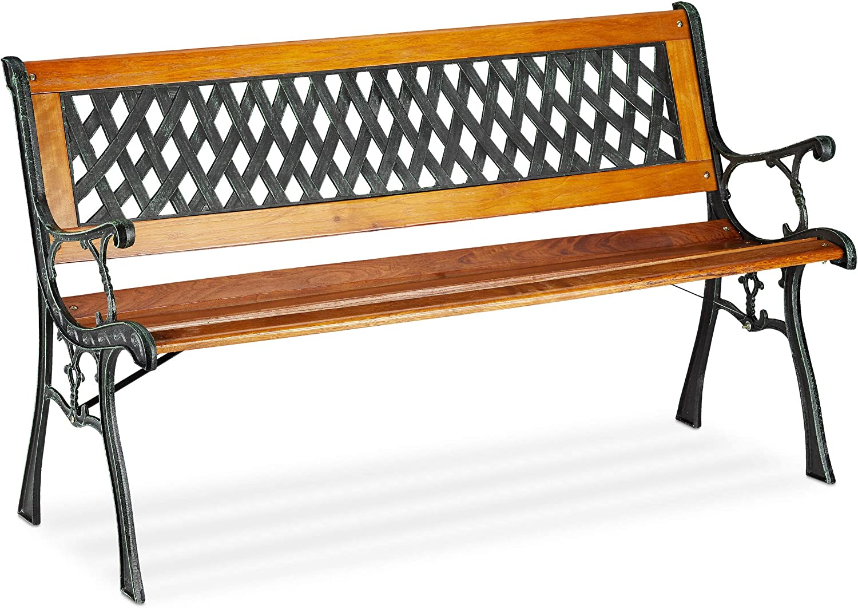 Relaxdays, Natural 2-Seater Garden, Decorative Backrest, Cast Iron, Wood, Park Bench, HxWxD 73 x 125 x 52 cm