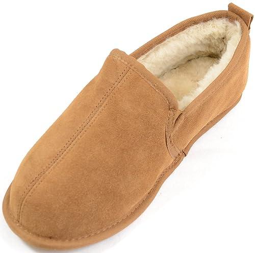 SNUGRUGS da uomo vero MOCASSINO SCAMOSCIATO Pantofole pelle di pecora