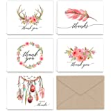 Boho Essence Themed Thank You Note Cards and Kraft Envelopes (Pack of 25, 5 of each card design)