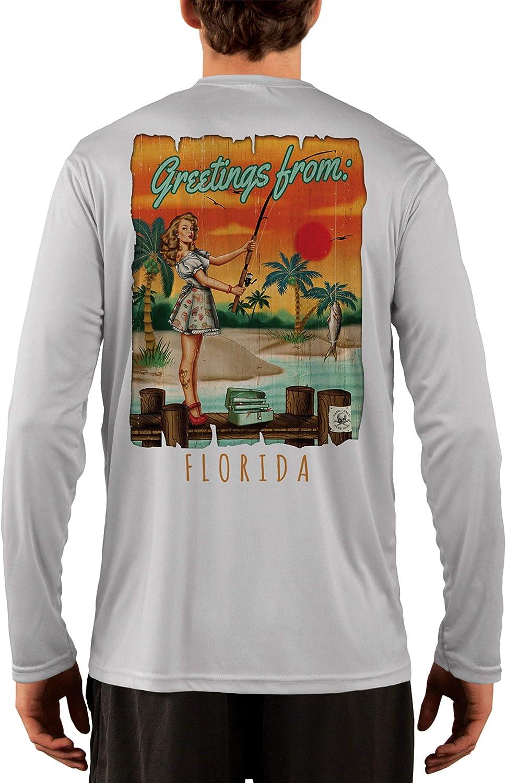 Long Sleeve T-Shirt Sailing Greeting Pinup Florida Mens UPF 50 SAND.SALT.SURF.SUN