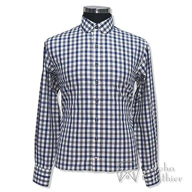 843d27e46252f Mens Tab Collar Blue and White Checks Shirt 100% Cotton Loop Collar ...