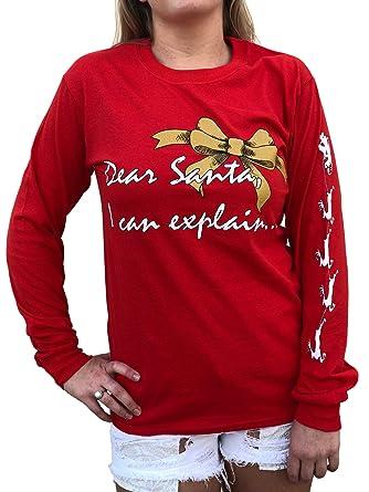 48654a0c3f4 Southern Attitude Dear Santa I Can Explain Red Long Sleeve Shirt (Small)