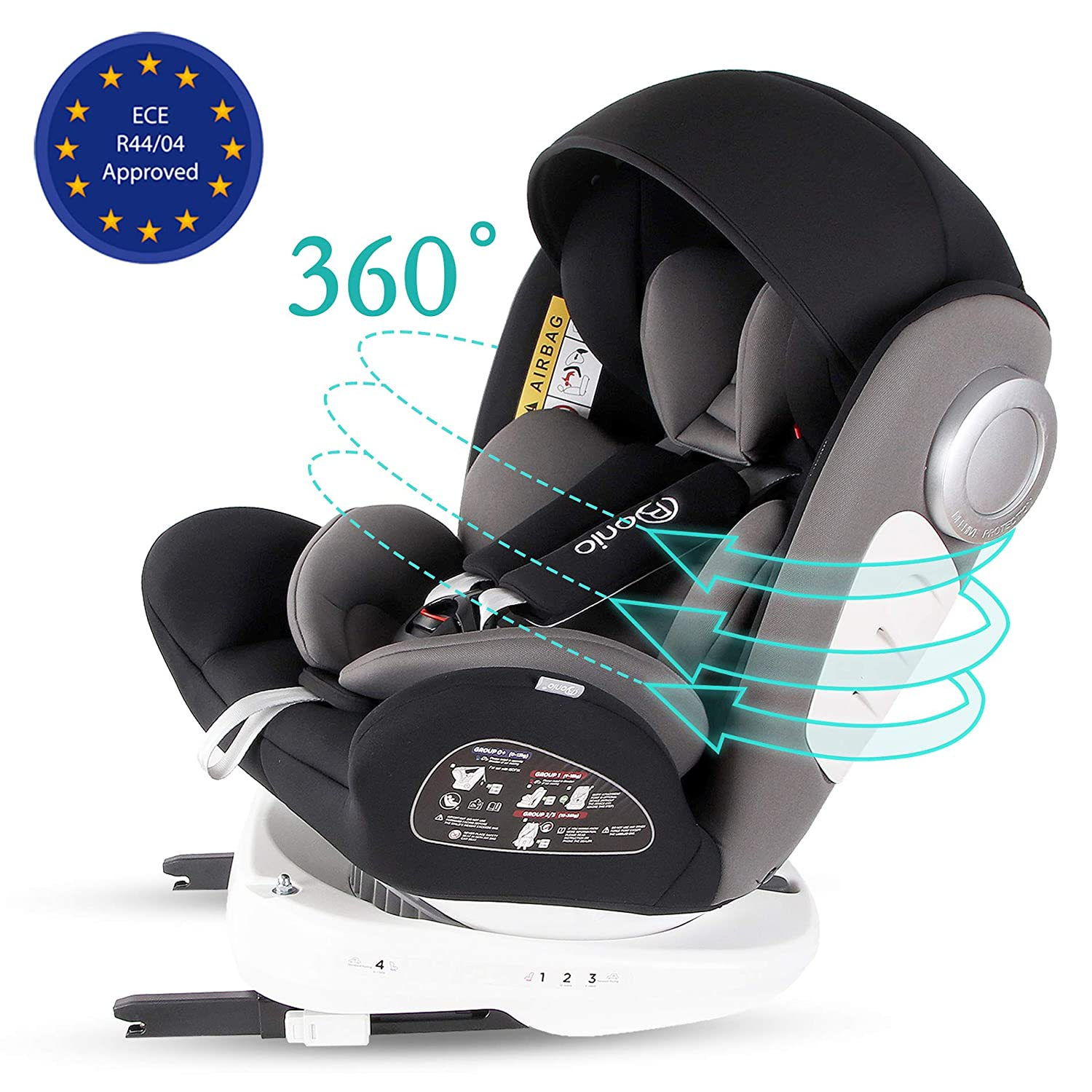 Top Tether Rotation 360/° ISOFIX 0-36 kg//0-12 Year LETTAS Baby Car Seat for Child Group 0+//1//2//3