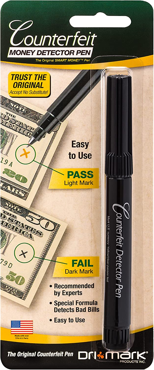 10 Counterfeit Money Detector Marker Pens for use with UV Light for USA Black