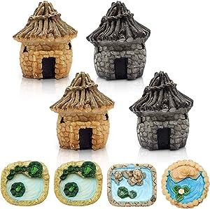 Skylety 8 Pieces Fairy Garden Miniature Pond Ornaments Kit, 4 Pieces Micro Bridge Stone House Landscape for Miniature Garden Accessories, Home Micro Landscape Decoration