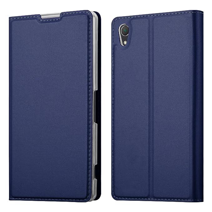 Cadorabo Hülle für Sony Xperia Z2 - Hülle in DUNKEL BLAU – Handyhülle mit Standfunktion und Kartenfach im Metallic Look - Cas
