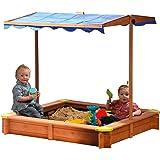 dobar 94350FSC Bac à sable en bois FSC Avec toit ajustable en hauteur, inclinable et protégé UV 801 Fond de bac inclus 117 x 117 x 117 cm