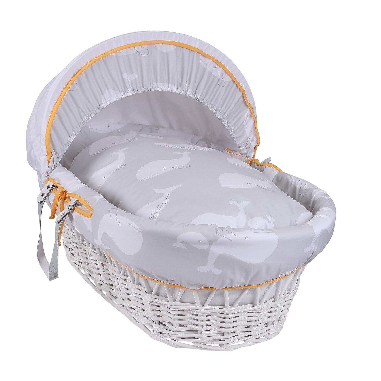 Clair de Lune Whales White Wicker Moses Basket inc. bedding, mattress & adjustable hood (Grey) CL5650W