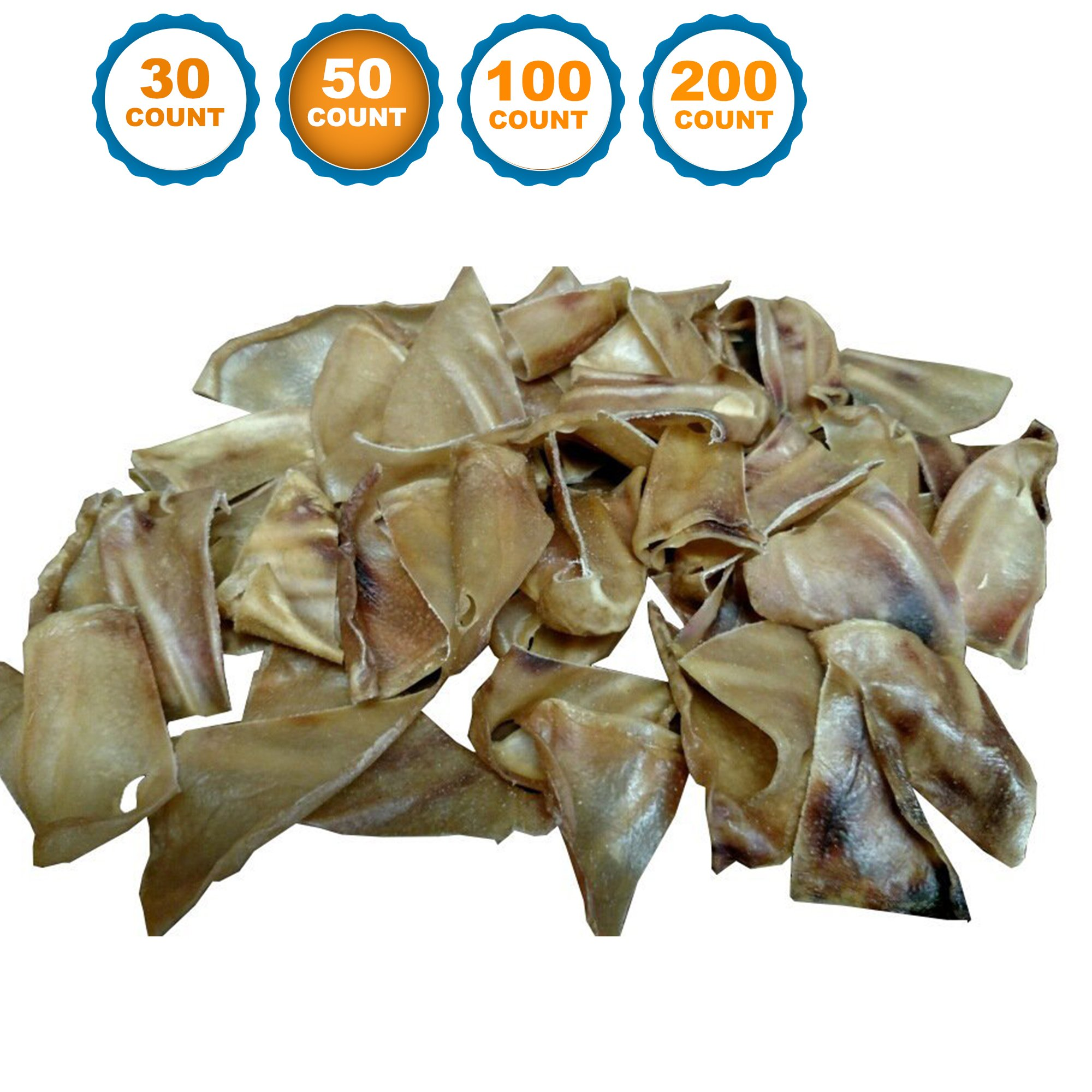 123 Treats Half Pig Ears Chews from 50 Count | Health Pork Ear for dogs | 100% Natural Chews