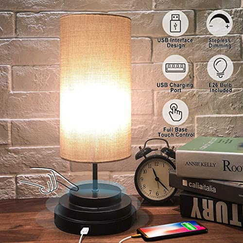 USB Touch Control Table Lamp – Moobibear Minimalist Bedside Desk Lamp with Cylinder Lamp Shade, Dimmable Modern Ambient Nightstand Lamp for Bedroom, Living Room, Kitchen, E26 Bulb Included