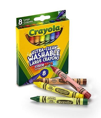 amazon com crayola washable crayons large 8 colors box 52 3280