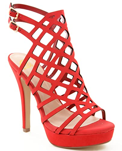 Amazon.com | Strappy Caged Gladiator Vegan Suede Women's High ...