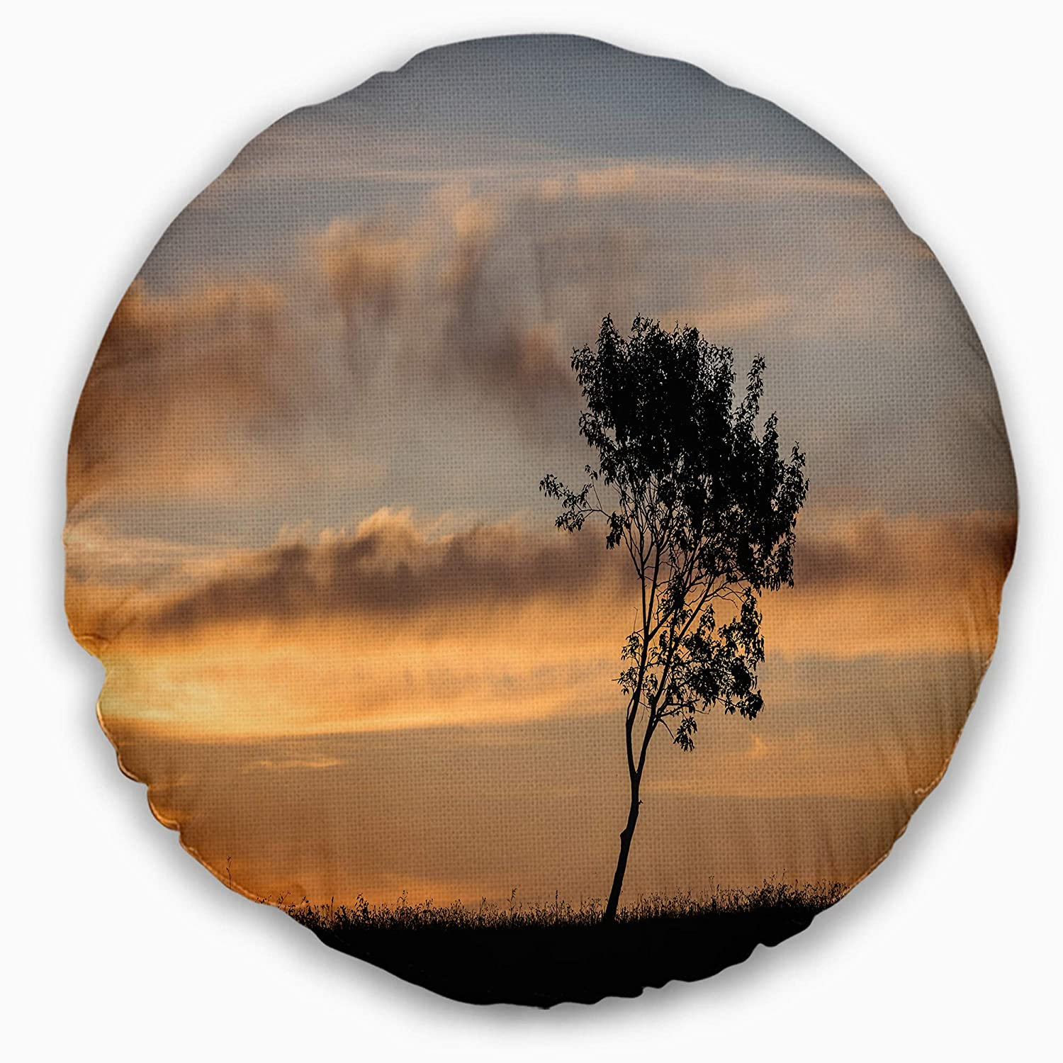 Sofa Throw Pillow 20 Designart CU9995-20-20-C Lonely Tree Silhouette Rightwards Landscape Printed Round Cushion Cover for Living Room