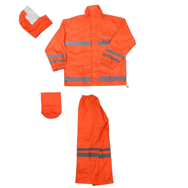 フナハシ 安全レイン オレンジ 4L 超軽量 透湿 レインウェア 《胸、背中、脚、腕に反射材付き》 B0081Z0JWK 4L|オレンジ オレンジ 4L