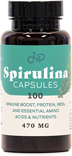 Pure Hawaiian Blue Green Spirulina Powder Capsules – 470mg Capsules 100 Pills, Non GMO, Natural, Vegan Super Algea