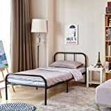 Single Bed Frame Coavas 3ft Single Adults Solid Bedstead Base with 2 Headboard Metal Bed Frame Black