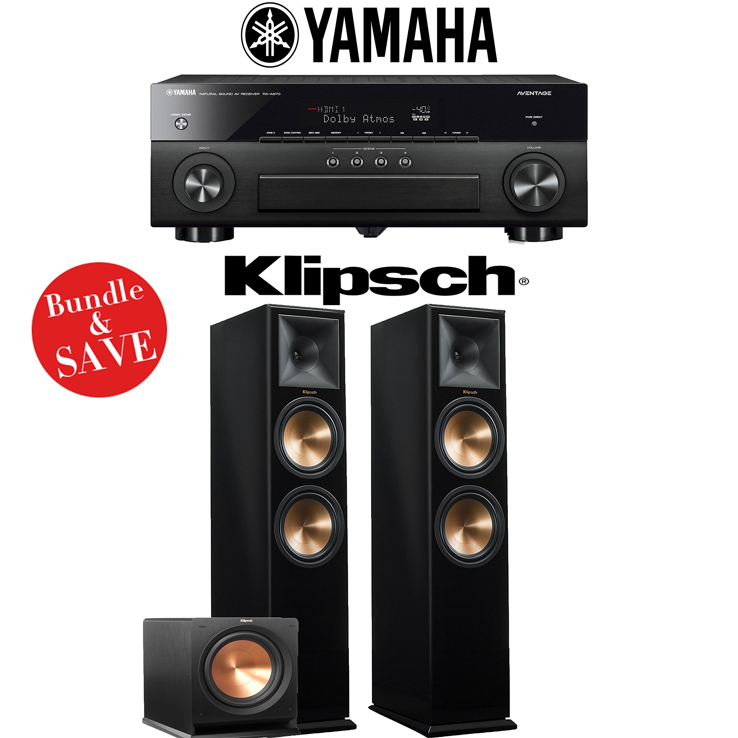 Yamaha AVENTAGE RX-A870BL 7.2-Channel Network A/V Receiver + Klipsch RP-280F + Klipsh R-112SW - 2.1-Ch Home Theater Package (Piano Black) by Yamaha