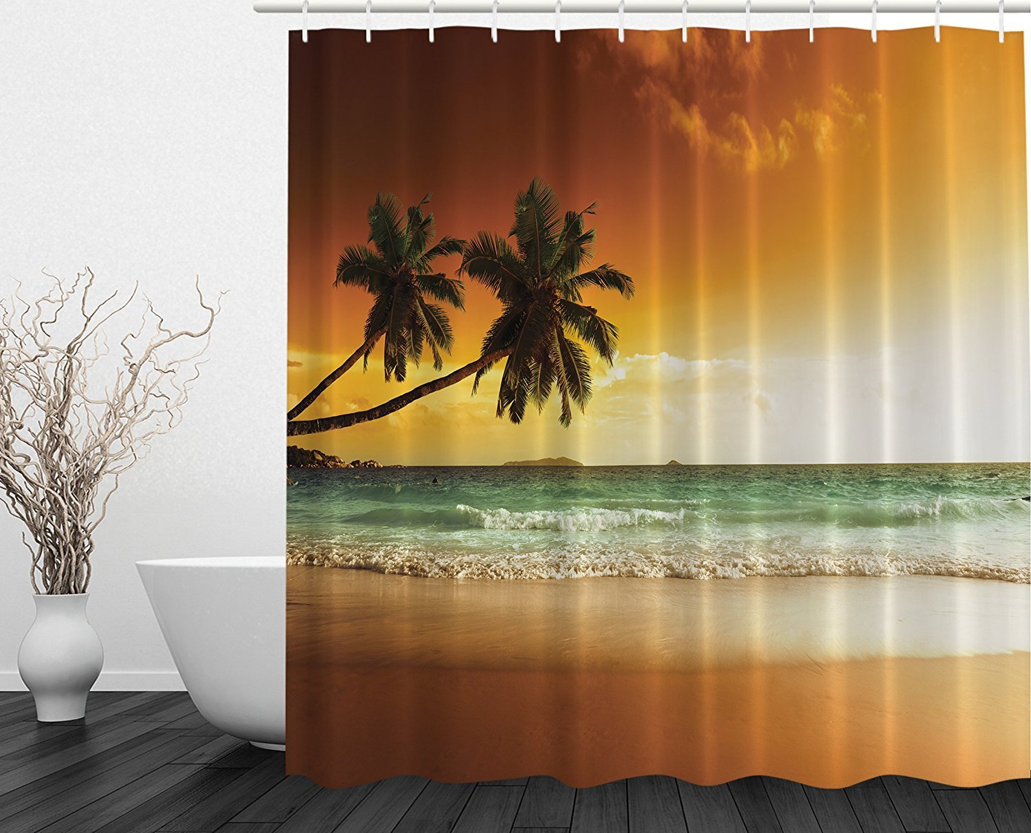 Amazon Ocean Shower Curtain Palms Sunset Digital Print Art Pictures Modern Family Decor Fabric Home Bathroom Accessories Traveler Explorer Leisure View