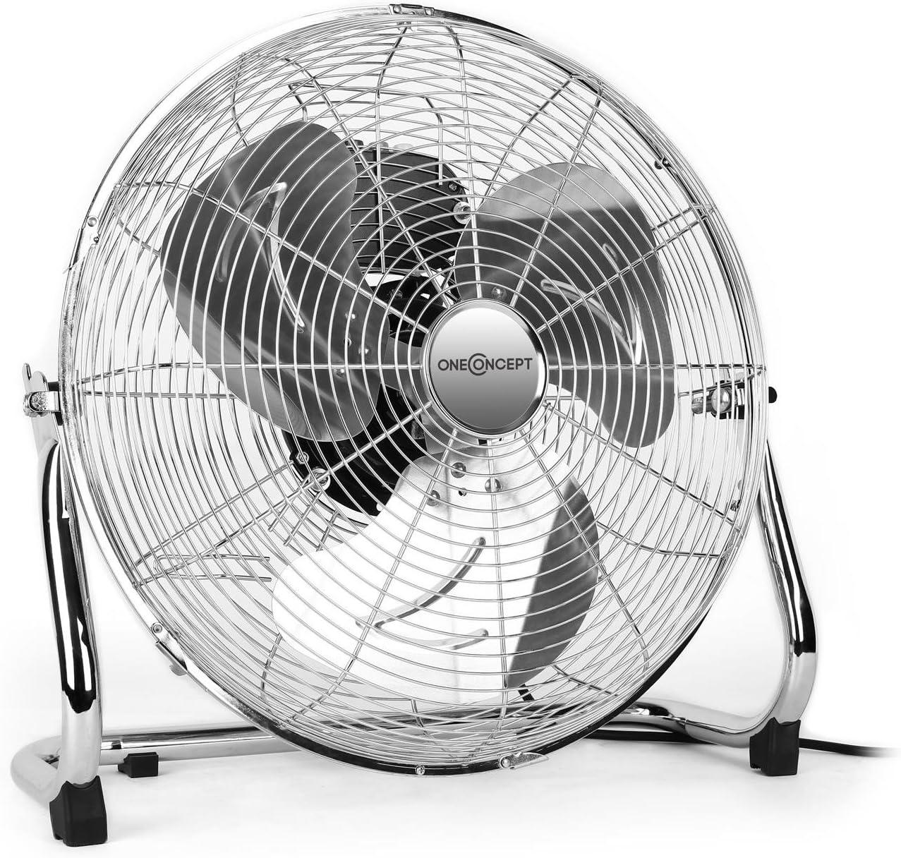 Oneconcept Metal Blizzard Ventilador de Suelo 16' 100W inclinable (3 velocidades, Rotor 41cm, asa Transporte, pies Goma Antideslizantes, Cesta de rotación y pie cromados, Ventilador Industrial)