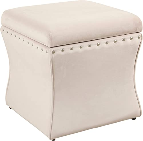 Spatial Order Miller Modern Cinch Velvet Storage Ottoman with Nailhead Trim, Pink