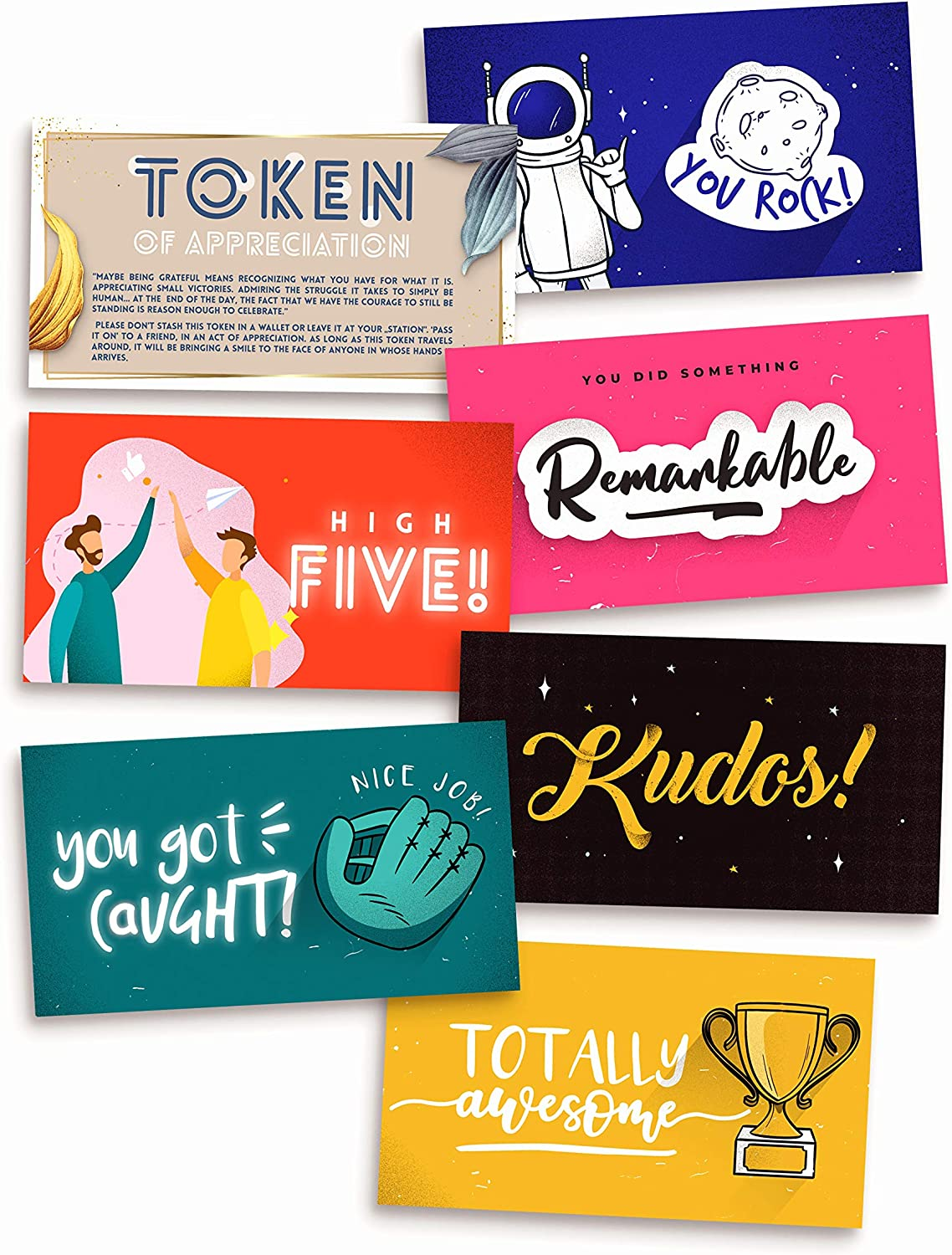 Kudos - Thank You Appreciation Gift Cards – Employee Recognition Reward with Motivational Quote for Team, Staff, Coworkers, Teachers - (70/Set)