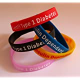 Type 1 Diabetes small child size silicone wristband in red