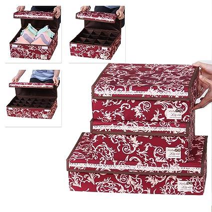 Sivin rojo plegable organizador del armario de almacenamiento Caja sujetador ropa interior cajón Divider, Microfibra