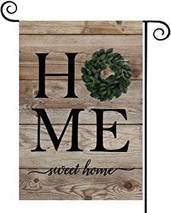 FIBEROMANCE Spring Garden Flag Summer Flag Home Sweet Home Wood Flowers Leafs Welcome Flag Vertical Double Sided Outdoor Yard Flag Porch Flag Outdoor Decoration Decorative Home Décor 12x18 inches